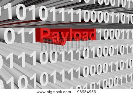 Payload in the form of binary code, 3D illustration