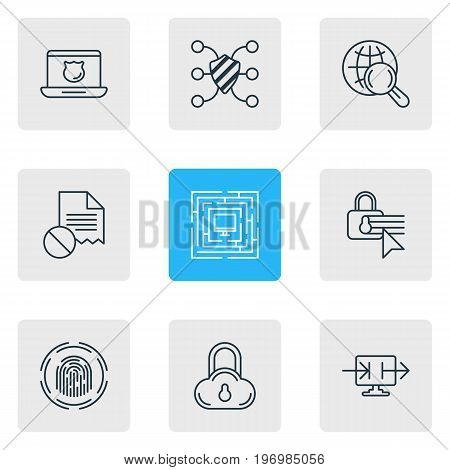 Editable Pack Of Internet Surfing, Send Information, Confidentiality Options And Other Elements.  Vector Illustration Of 9 Privacy Icons.