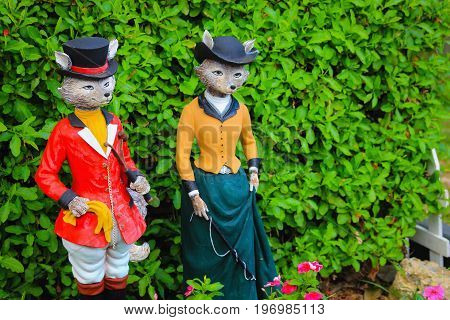 Mr and Mrs Fox Garden Ornaments with copy space