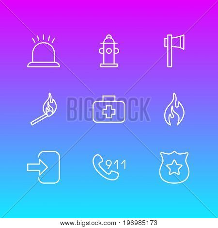 Editable Pack Of Ax, Badge, Water And Other Elements.  Vector Illustration Of 9 Necessity Icons.