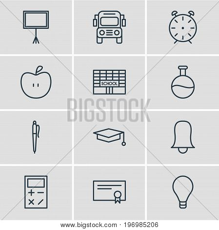 Editable Pack Of Write Table, Bulb, Calculate And Other Elements.  Vector Illustration Of 12 Education Icons.