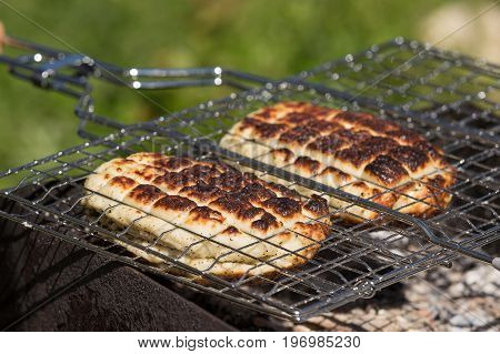 Top view on two grilled slices of homemade halloumi cheese on grill. Outdoors. Grilling season.