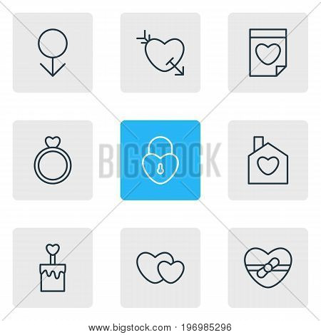 Editable Pack Of Valentine, Engagement, Lock And Other Elements.  Vector Illustration Of 9 Amour Icons.
