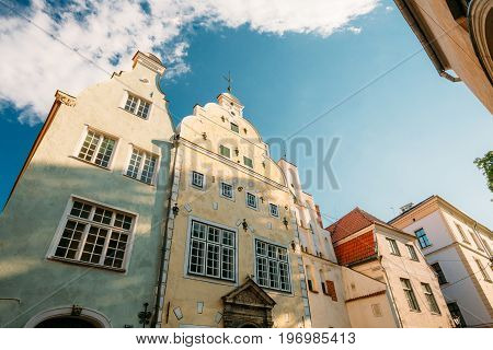 Riga, Latvia. Popular Landmark Three Brothers Buildings Houses. Complex Of Dwelling Houses. State Inspection For Heritage Protection And Latvian Museum Of Architecture. UNESCO World Heritage Site