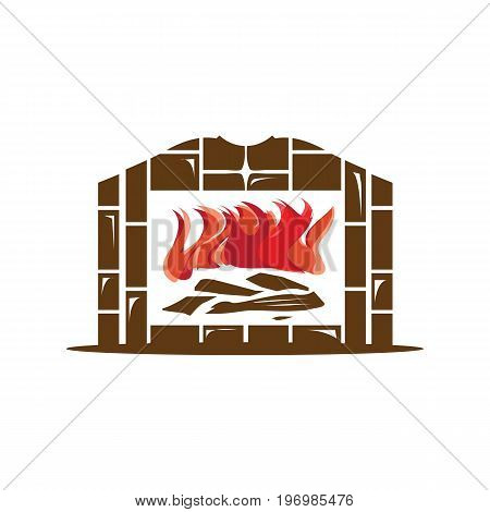 home fireplace with flames, illustration design, isolated on white background.