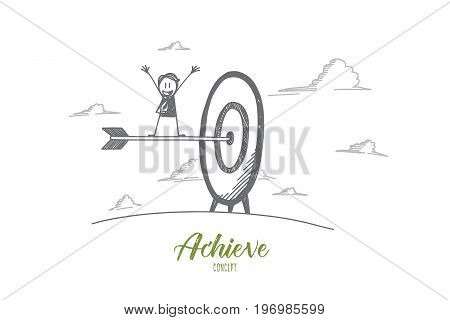Achieve concept. Hand drawn arrow in the center of target. Happy person who achieved the goal isolated vector illustration.