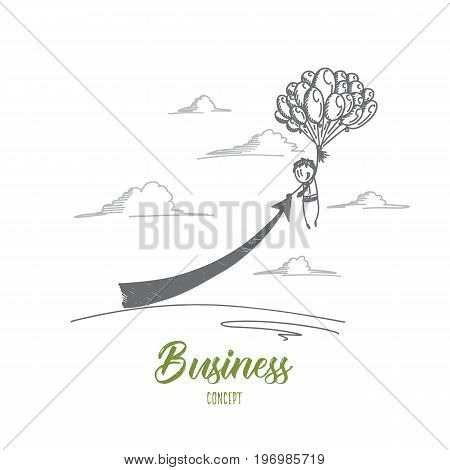 Business concept. Hand drawn flying balloons with businessman. A lot of ballons flying up isolated vector illustration.