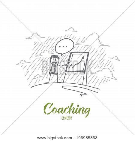 Coaching concept. Hand drawn coach near chipboard teaching people. Training process isolated vector illustration.