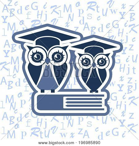 Owl with Mortarboard and book. Can be used as logo. Vector Illustration