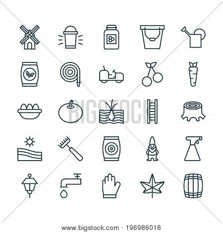 Farm Icons Set. Collection Of Agrimotor, Meadow, Cask And Other Elements