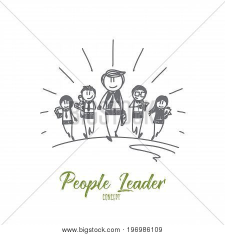 People leader concept. Hand drawn group of people and leader. Successful team with boss isolated vector illustration.