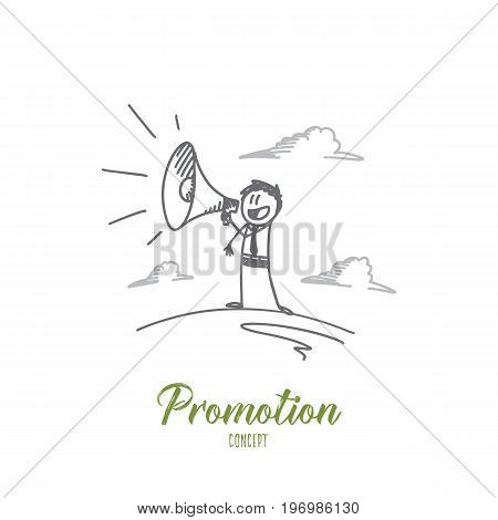 Promotion concept. Hand drawn man using megaphone yelling. Person promoting isolated vector illustration.