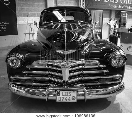 PAAREN IM GLIEN GERMANY - MAY 23 2015: Vintage car Chevrolet Fleetmaster. Black and white. The oldtimer show in MAFZ.