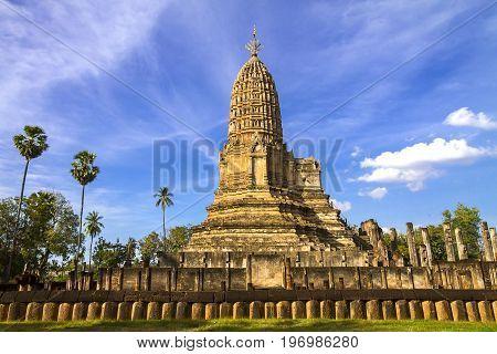 Ancient pagoda Wat Phra Si Ratanamahathat temple and sky in Sisatchanalai Historical Park Sukhothai province Thailand