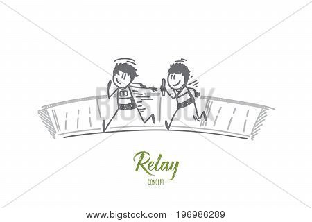 Relay concept. Hand drawn relay race handing over from one player to another. Process of game isolated vector illustration.