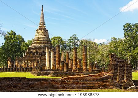 Wat Chang Lom temple and ancient architecture in Sisatchanalai Historical Park Sukhothai province Thailand