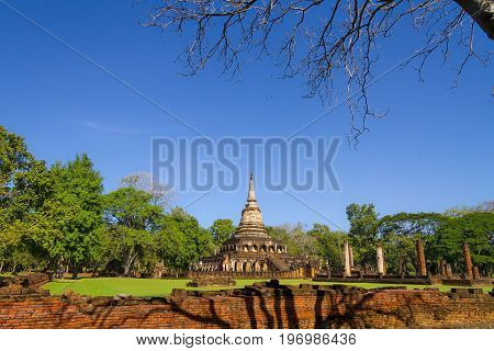 Wat Chang Lom temple and clear sky in Sisatchanalai Historical Park Sukhothai province Thailand