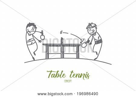 Table tennis concept. Hand drawn portrait of two male athletes playing table tennis. Sportsmen with rockets isolated vector illustration.