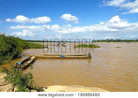 Mekong Rive and small ship at Khemarat DistrictUbon Ratchathani Province Thailand