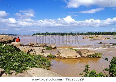 Mekong Rive it much reef at Khemarat DistrictUbon Ratchathani Province Thailand