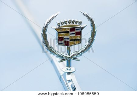 PAAREN IM GLIEN GERMANY - MAY 23 2015: Emblem of a full-size luxury car Cadillac de Ville series 1974. The oldtimer show in MAFZ.