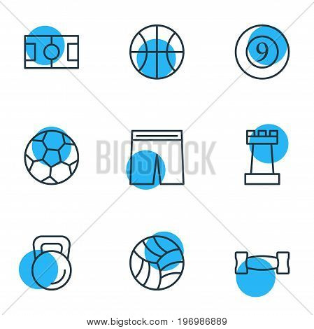 Editable Pack Of Cue, Game, Uniform And Other Elements.  Vector Illustration Of 9 Sport Icons.
