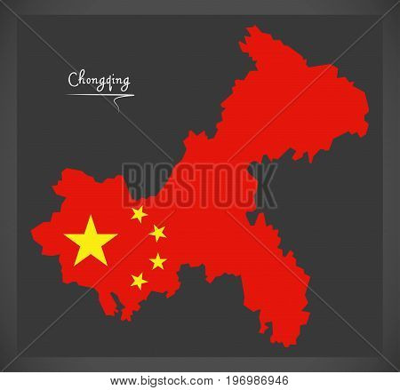 Chongqing China Map With Chinese National Flag Illustration