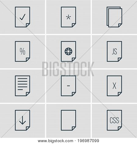 Editable Pack Of File, Basic, Percent And Other Elements.  Vector Illustration Of 12 File Icons.