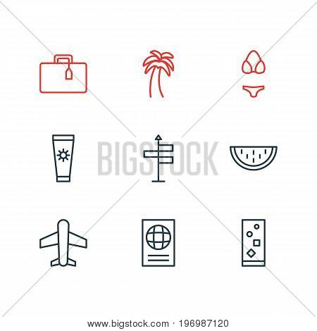 Editable Pack Of Certificate, Suitcase, Cocktail And Other Elements.  Vector Illustration Of 9 Summer Icons.