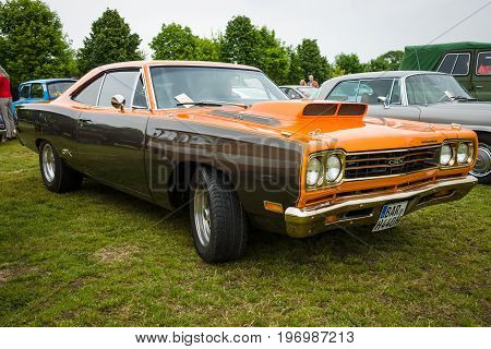 PAAREN IM GLIEN GERMANY - MAY 23 2015: Muscle car Plymouth GTX. The oldtimer show in MAFZ.
