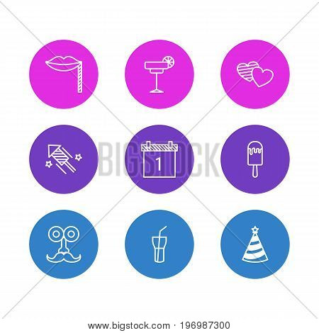 Editable Pack Of Soul, Date Block, Carnaval Mask And Other Elements.  Vector Illustration Of 9 Banquet Icons.