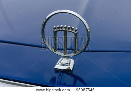 PAAREN IM GLIEN GERMANY - MAY 23 2015: Emblem of a car Mercury. The oldtimer show in MAFZ.