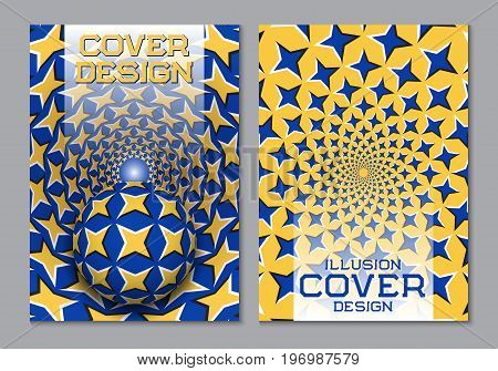 Blue yellow color scheme book cover design template with optical motion illusion elements.