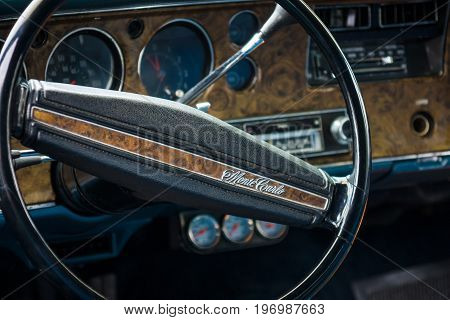 PAAREN IM GLIEN GERMANY - MAY 23 2015: Cabin of the personal luxury car Chevrolet Monte Carlo. Focus on the foreground. The oldtimer show in MAFZ.