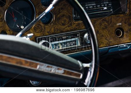 PAAREN IM GLIEN GERMANY - MAY 23 2015: Cabin of the personal luxury car Chevrolet Monte Carlo. The focus in the background. The oldtimer show in MAFZ.