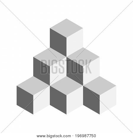 Pyramid of cubes. 3D vector illustration isolated on white background.