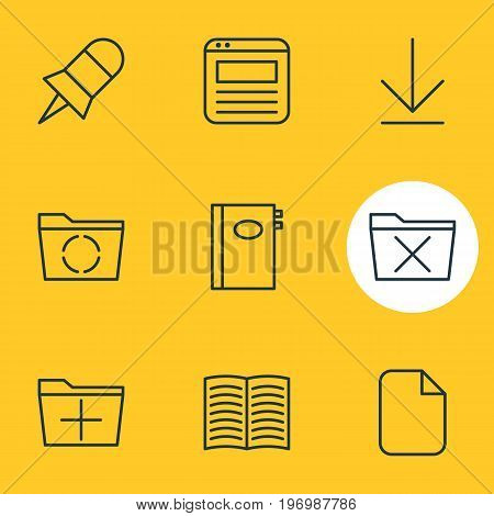 Editable Pack Of Textbook, Document, Downloading And Other Elements.  Vector Illustration Of 9 Workplace Icons.