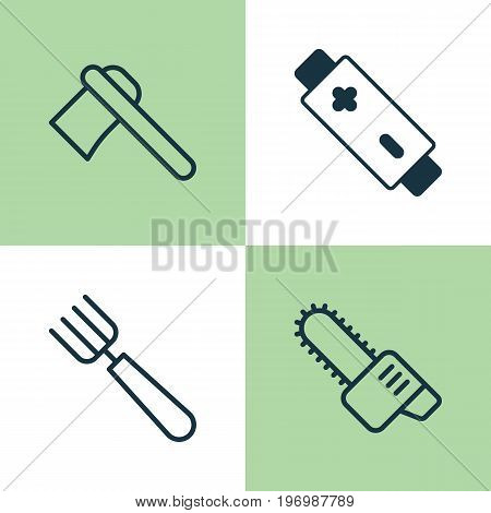 Apparatus Icons Set. Collection Of Gasoline Cutter, Garden Fork, Alkaline And Other Elements