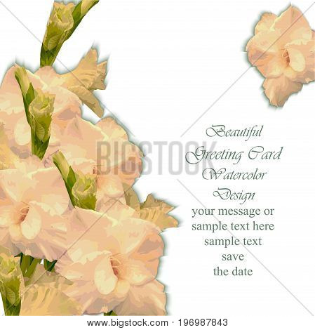 Summer flower blossom card frame. Spring Season delicate watercolor flowers Wedding Invitation. Place for text. Vector illustration