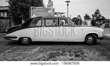 PAAREN IM GLIEN GERMANY - MAY 23 2015: Luxury car Daimler limousine DS420 1986. Black white. The oldtimer show in MAFZ.