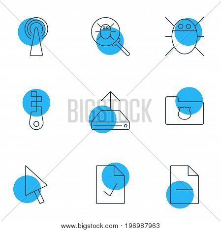 Editable Pack Of Bug, Removing File, Checked Note And Other Elements.  Vector Illustration Of 9 Web Icons.