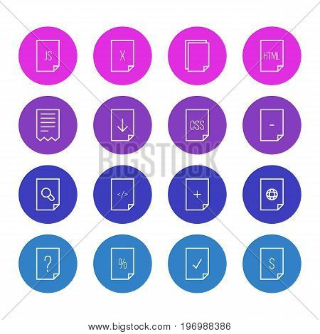 Editable Pack Of Plus, Script, Done And Other Elements.  Vector Illustration Of 16 Paper Icons.