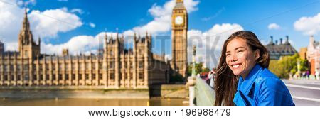 London Big Ben Westminster tourist Asian woman banner. Urban Europe travel destination, Houses of Parliament background, England, Great Britain. Horizontal copy space panoramic crop.