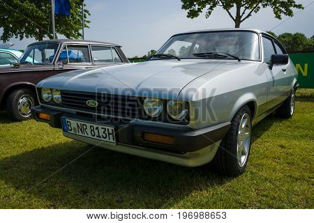 PAAREN IM GLIEN GERMANY - MAY 23 2015: Mid-size coupe Ford Capri. The oldtimer show in MAFZ.