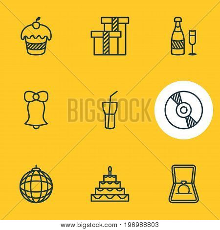 Editable Pack Of Muffin, Engagement, Compact Disk And Other Elements.  Vector Illustration Of 9 Banquet Icons.