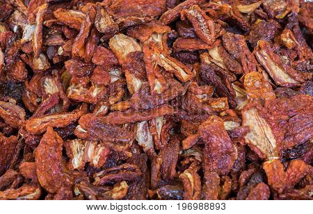 Heap Of Dried Tomatoes Sold At  Local City Market. Provence. France