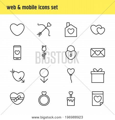 Editable Pack Of Cupid, Smartphone, Home And Other Elements.  Vector Illustration Of 16 Passion Icons.