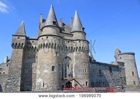 exterior of Vitre Castle in Brittany, France