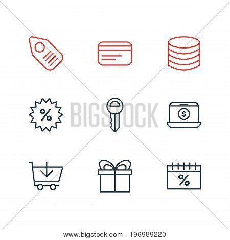 Editable Pack Of Discount, Present, Trading And Other Elements.  Vector Illustration Of 9 Wholesale Icons.