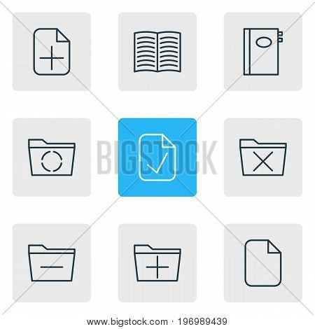 Editable Pack Of Textbook, Document, Book And Other Elements.  Vector Illustration Of 9 Bureau Icons.